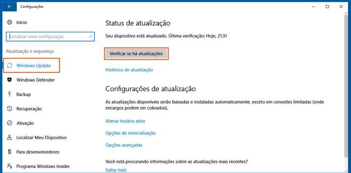Faça a atualização do Windows 10 manualmente (Foto: Reprodução/Barbara Mannara)