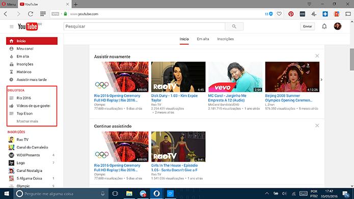 Usuário pode mudar privacidade de playlists a partir de tela inicial do YouTube (Foto: Reprodução/Elson de Souza)