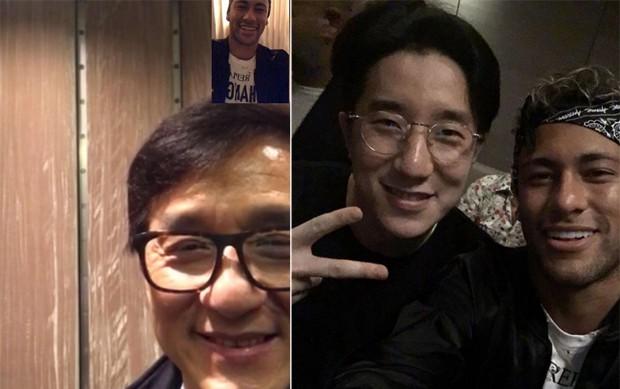 Neymar com Jackie Chan e Jaycee Chan (Foto: Reprodução/Instagram)