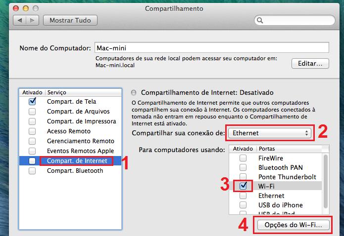 Configurando a opção Compart. de Internet (Foto: Reprodução/Edivaldo Brito)