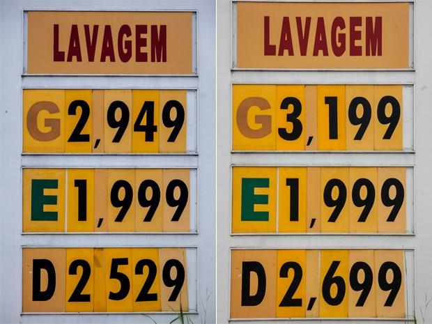 Na avenida Jurubatuba, Zona Sul, houve aumento no preço da gasolina e do diesel entre sexta e segunda. As altas foram de R$ 0,25 e R$ 0,17, respectivamente. O etanol não aumentou (Foto: Marcelo Brandt / G1)