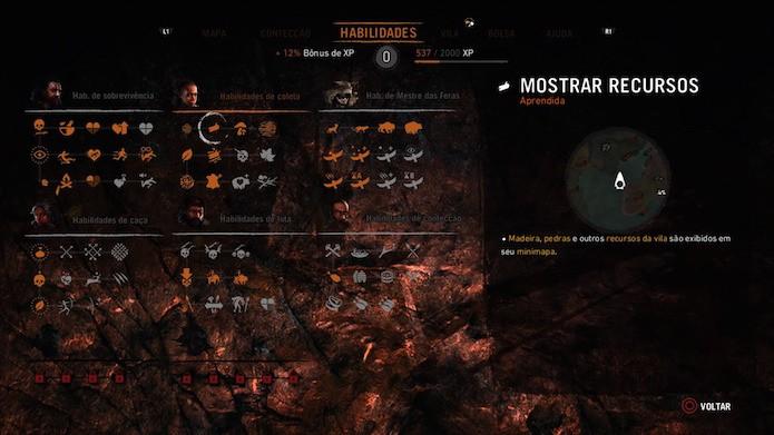 Far Cry Primal: aprimore habilidades essenciais de coleta (Foto: Reprodução/Victor Teixeira)