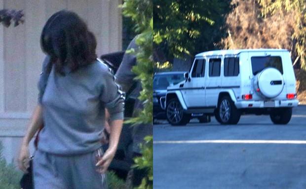 Selena Gomez e Justin Bieber (no carro) (Foto: Grosby Group)