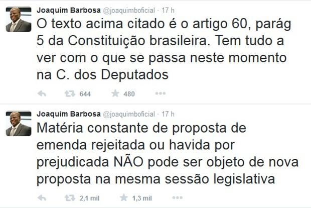 Joaquim Barbosa critica no Twitter manobra da Câmara que aprovou redução da maioridade penal (Foto: Reprodução / Twitter)