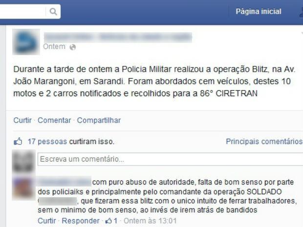 O homem disse que os policiais queriam prejudicar os trabalhadores. (Foto: Facebook/Reprodução)