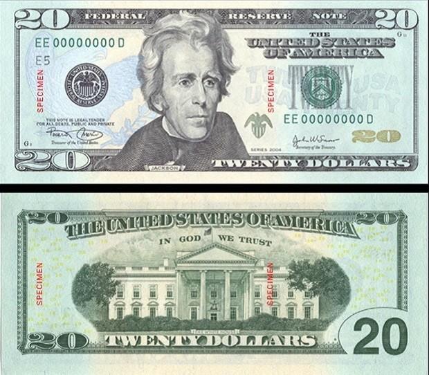 Nota de US$ 20 tem imagem do presidente Andrew Jackson desde 1928 (Foto: REUTERS/Bureau of Engraving and Printing)