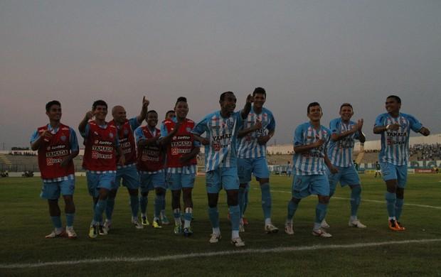 Jogadores do Paysandu comemoram o segundo gol da partida (Foto: Paulo Akira / O Liberal)