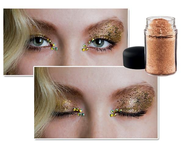O glitter apareceu no desfile de John Richmond. Glitter Gold, M.A.C Pro, R$ 96 (Foto: Imaxtree/divulgação)