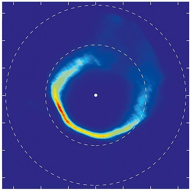 Mapa construido com telescópio mostra matéria em movimento em torno de estrela anã branca (Foto: Univesidade de Warwick/C. Manser/ESO)