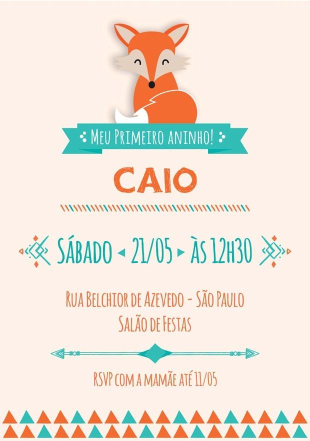 Convite de festa infantil no tema raposa (Foto: Divulgação)