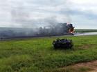 Três pessoas morrem após carretas pegarem fogo em acidente em MT