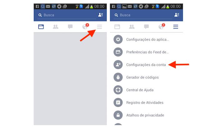 Acessando as configurações de conta do Facebook pelo Android (Foto: Reprodução/Marvin Costa)