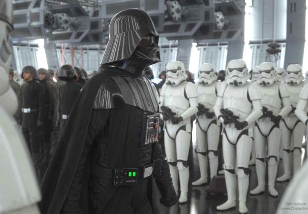 Cena do filme Star Wars em que o personagem Darth Vader lidera as tropas imperiais (Foto: 20th Century Fox)