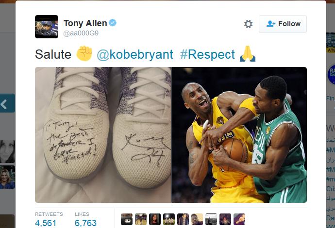 Tony Allen mostra seu respeito por Kobe Bryant em sua conta no Twitter (Foto: Reprodução/Twitter)