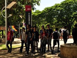 Alunos do Cotuca entram no Ciclo Básico II da Unicamp onde vão estudar neste semestre  (Foto: Lucas Jerônimo/G1Campinas)