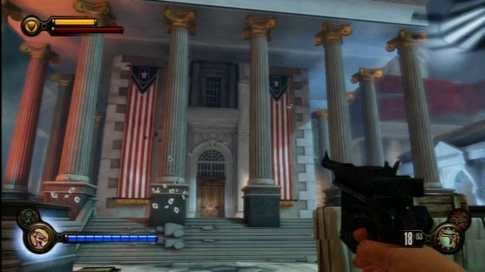 Bioshock Infinite: garanta acesso a este prédio para coletar o gravador (Foto: Reprodução/IGN)
