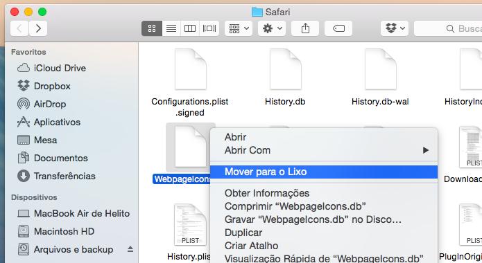 Apague o arquivo que o Safari usa para armazenar os ícones dos websites (Foto: Reprodução/Helito Bijora)