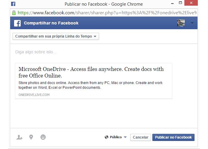Facebook é uma das redes sociais que podem ser usadas no OneDrive (Foto: Reprodução/OneDrive)