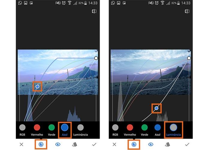A ferramenta de curvas também pode ser aplicada para o azul e luminância (Foto: Reprodução/Barbara Mannara)