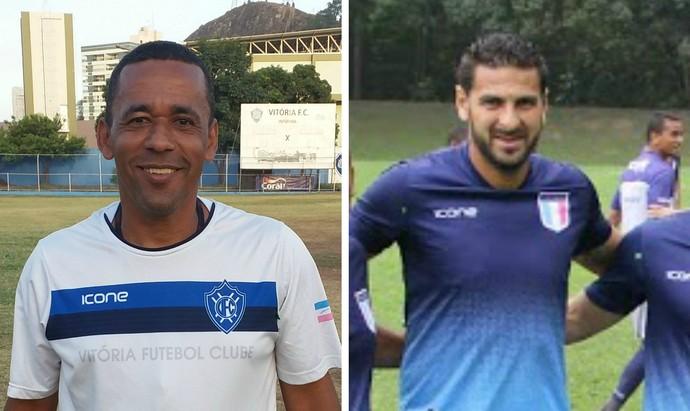 Joilson Barbosa e Estevão Toniato, auxiliares técnicos de Vitória-ES e Espírito Santo (Foto: Editoria de arte)