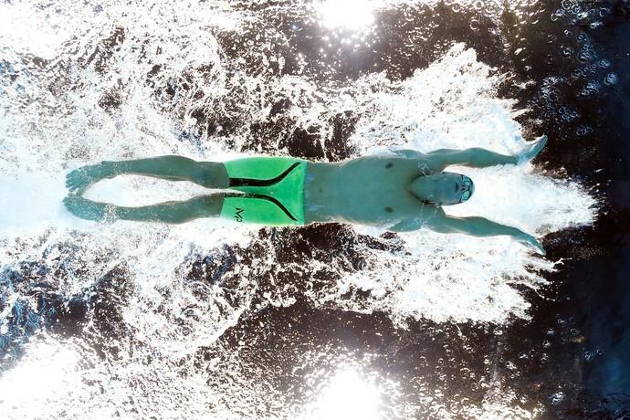 Seletiva olímpica da natação EUA - Michael Phelps durante a final dos 200m borboleta, em Omaha (Foto:  Tom Pennington / Getty Images)