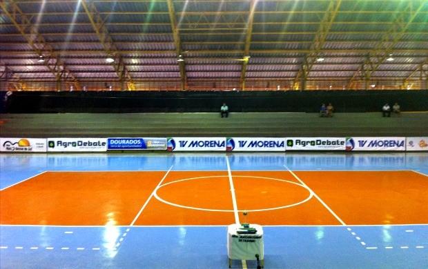 Ginásio municipal Ulisses Guimarães preparado para final da Copa dos Campeões de futsal 2012 em Dourados MS (Foto: Eddie Guttemberg/TV Morena)