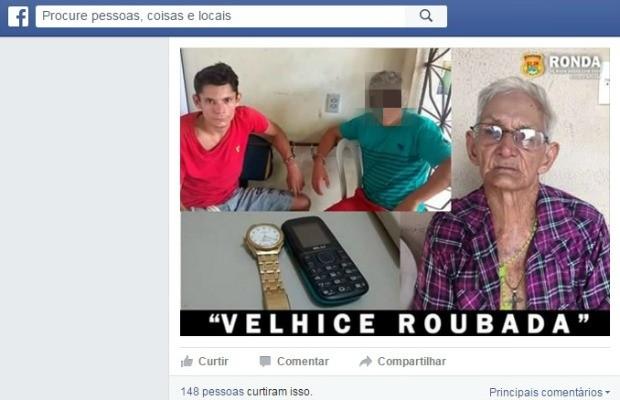 Neto (blusa vermelha) foi preso após assalto na casa do próprio avô. (Foto: Divulgação)