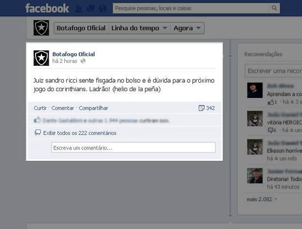 Botafogo juiz Sandro Meira Ricci reclamação Facebook (Foto: Reprodução / Facebook Oficial)