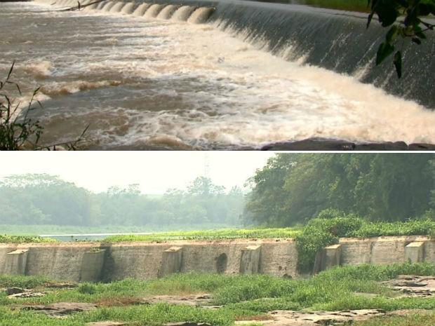 Paisagem da Cachoeira de Emas em Pirassununga antes e depois da seca (Foto: Reprodução/EPTV)