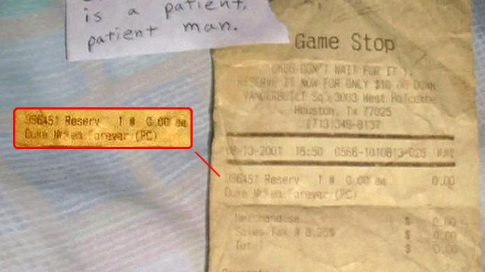 Recibo de pré-venda de Duke Nukem Forever datava de 10 anos atrás (Foto: slightlywarped.com)