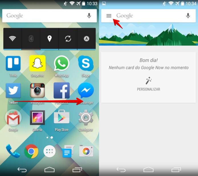 Acesse o Google Now no Android (Foto: Reprodução/Helito Bijora)