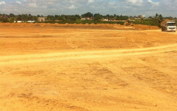 Terreno da Arena América, novo estádio que é construído para o América-RN (Foto: Divulgação)