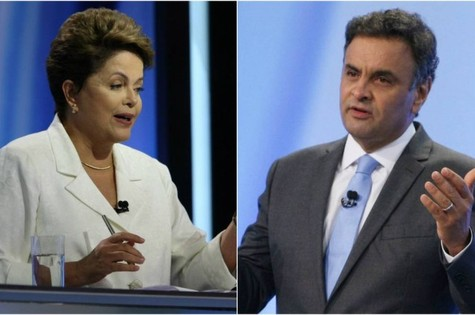 Dilma Rousseff e Aécio Neves no debate da Record (Foto: Michel Filho)