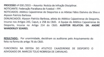 Atlético-PB, TJD-PB, processo (Foto: Reprodução / TJD-PB)