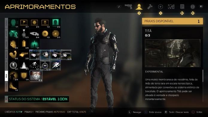 Tela com as habilidades de Adam Jensen em Deus Ex: Mankind Divided (Foto: Reprodução/André Mello)