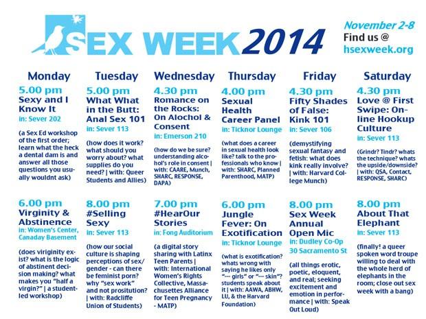 Programação de seminários inclui palestra sobre sexo anal (Foto: Reprodução/Harvard)