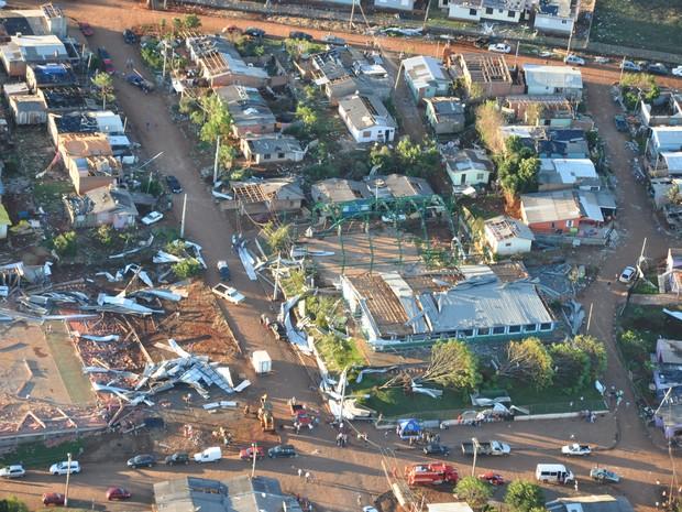 Imagem aérea mostra destruíção no Bairro Treze de Maio, em Tapejara (Foto: Divulgação/Prefeitura de Tapejara)