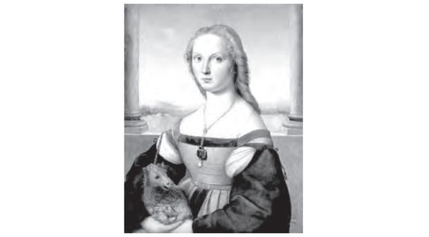 SANZIO, R. (1483-1520) A mulher com o unicórnio. Roma, Galleria Borghese.  Disponível em: www.arquipelagos.pt. Acesso em: 29 fev. 2012. (Foto: Reprodução/Enem)
