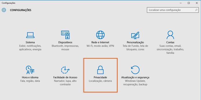 Clique no botão de Privacidade nas configurações do Windows (Foto: Reprodução/Barbara Mannara)
