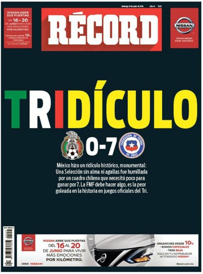 """BLOG: Jornal mexicano detona seleção nacional após goleada para o Chile: """"Tridículo"""""""