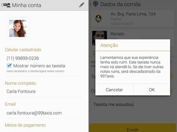 Telas da versão de Android do 99taxis que irá permitir ocultar do taxista o número de telefone (Foto: Divulgação/99taxis)