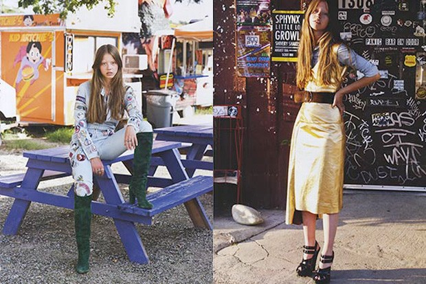 Mia Goth em campanhas publicitárias (Foto: Reprodução)