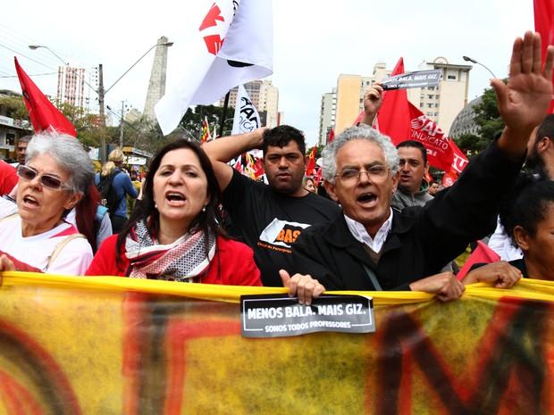 Protesto de professores no Paraná (Foto: Paulo Lisboa/Brazil Photo Press/Estadão Conteúdo)