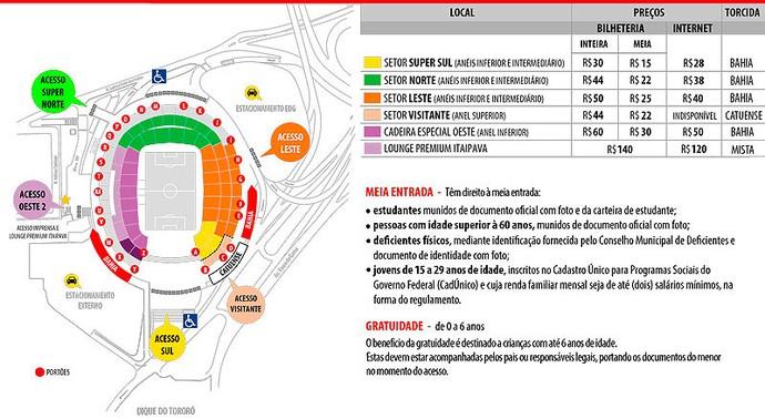 Bahia x Catuense; mapa de assentos da Arena Fonte Nova (Foto: Reprodução)