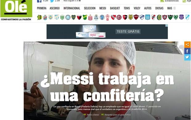 Sosia de Messi em jornal argentino