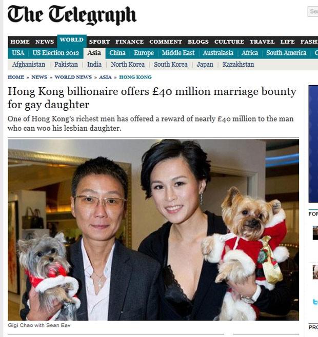 Bilionário de Hong Kong está oferecendo cerca de US$ 65 milhões para o homem que se casar com sua filha lésbica. (Foto: Reprodução/Daily Telegraph)