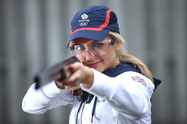 Amber Hill, da equipe de Tiro Esportivo Skeet da Grã Bretanha  (Foto: Richard Heathcote / Getty Images )