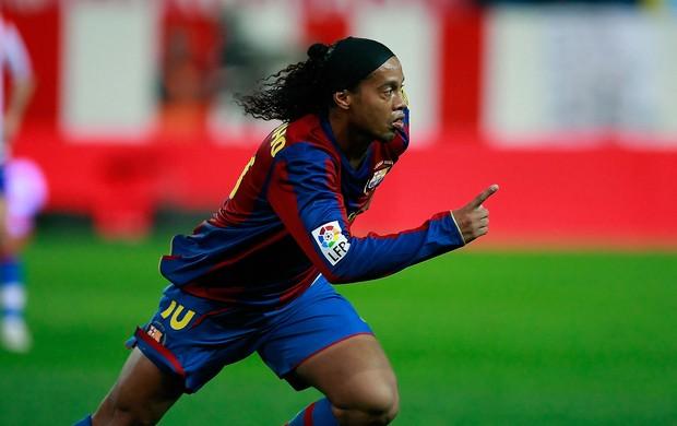 ronaldinho gaucho Atletico Madrid x Barcelona 2008 (Foto: Getty Images)