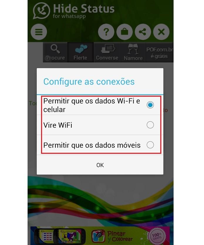 É necessário escolher o tipo de acesso à Internet que deseja usar (Foto: Reprodução/Taysa Coelho)