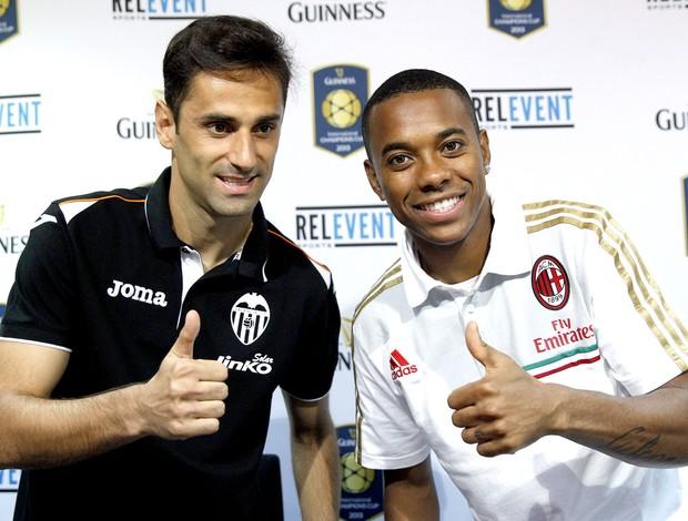 Robinho e Jonas coletiva Valencia e Milan (Foto: EFE)